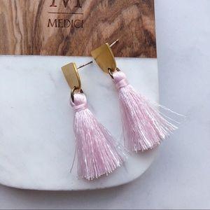Madewell Style Pink Tassels Earrings Silver